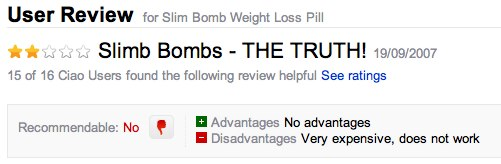 Slim Bomb user review negatives