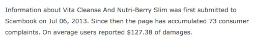 Nutriberry Slim scam reported by customers